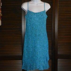 Hana Vintage Blue Floral Dress, Ruffle Hem, M